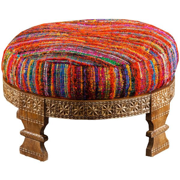 Intricate design pairs with vibrant boho-inspired coloring to create this truly exquisite ottoman. Featuring a geometric pattern placed atop a flawlessly carved wood base, this piece will radiate char