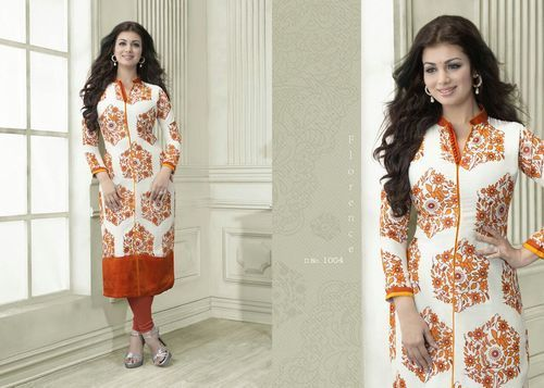 "Designer Wear Printed Georgette Kurti with American Crepe lining in Orange and White color. Length: 45"" and Size: L, XL."