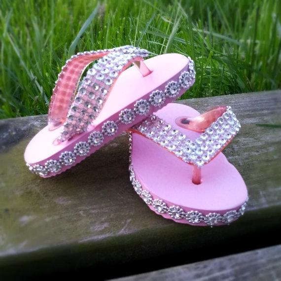 Flip Flop Sparkle     bling flip flops  size 12 by love2yarn, $20.00