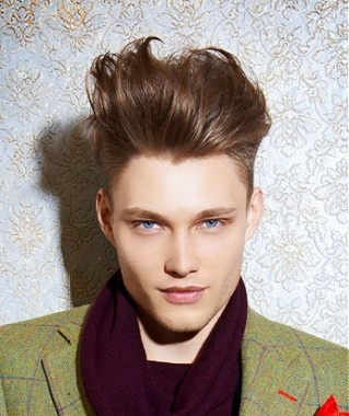 long brown straight coloured quiff shaved sides Mens hairstyles for men