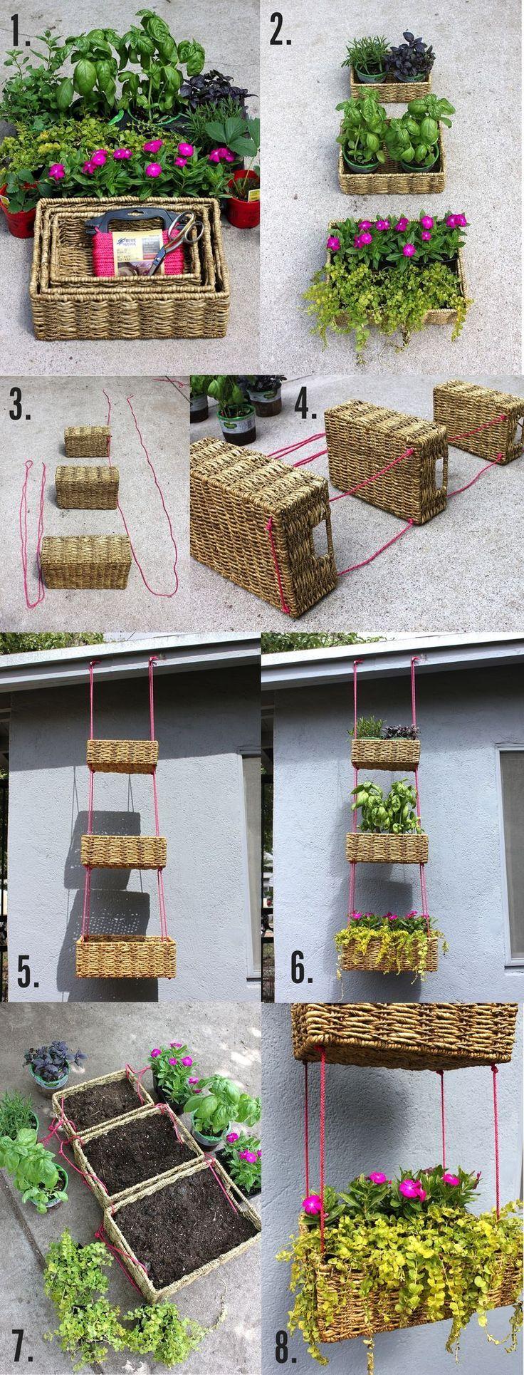 Hanging Basket Garden - How To DIY #vertical #gardening