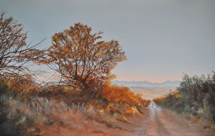 A Road Well Travelled    (oil on canvas, 700X1100X25mm) by Lisl Barry   www.lislbarry.co.za  Little Karoo landscape