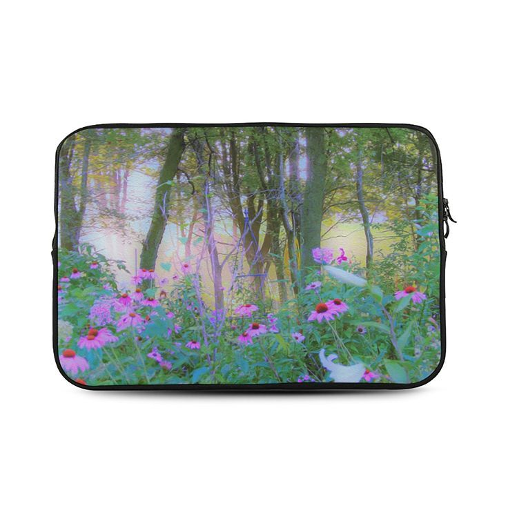 Laptop Sleeve, Bright Sunrise with Pink Coneflowers in My Rubio Garden, MacBook Air, MacBook Pro and iPad Mini Sleeves