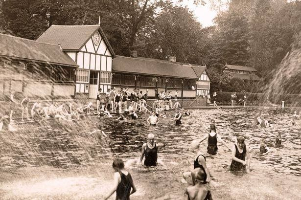 Swimming at Cannon Hill Park during the inter war years.