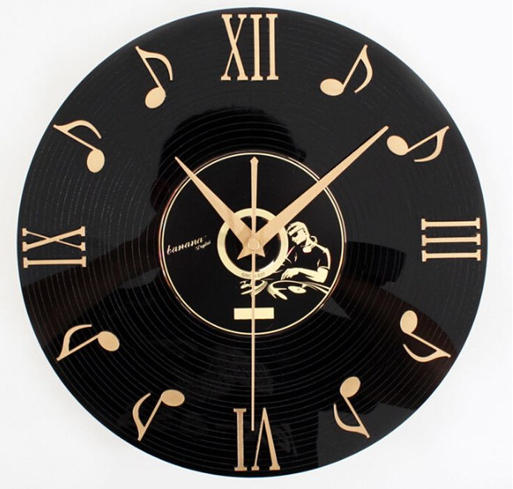 Musical Note Vinyl Record Wall Clock