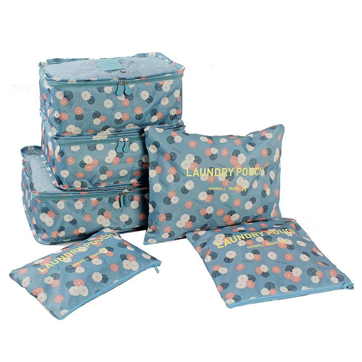 6Pcs/set Portable Packing Cube Travel Bags Women Clothes Cosmetic Sorting Storage Pouch Organizer luggage Accessories Products