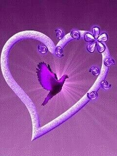 "Purple heart Love this heart! Love the bird flying within the heart itself.  Makes my heart "" soar"", too!"