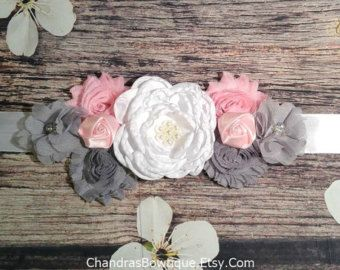 Shabby Chic It's A Girl Pregnancy Sash for by FeltFromTheHeartXXOO