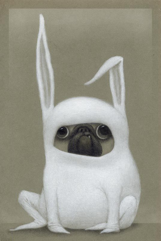 """""""Really?"""" Pugs seem to a particularly favorite target of those who dress up animals. This is another quick diversion as I work on some epic paintings."""