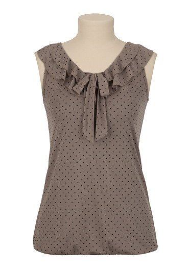 Dot Print Ruffle Neck Top available at #Maurices