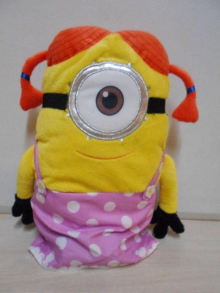 Despicable Me Female Cyclops Minion Doll Plush Stuffed Girl Minion W/Pig Tails #DespicableMe