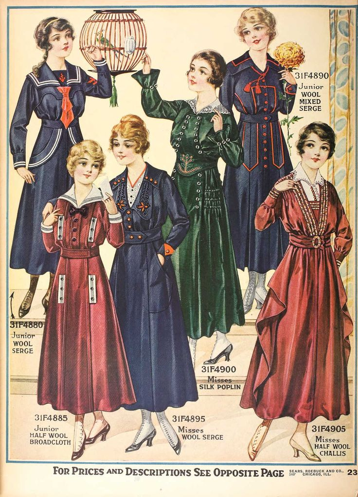 1916 Sears catalogue? dress ad.: Sailor/Nautical styles entering