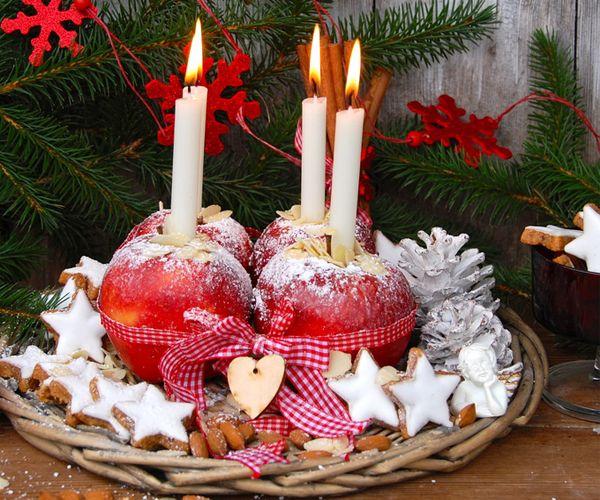 diy-adventskranz mit äpfeln