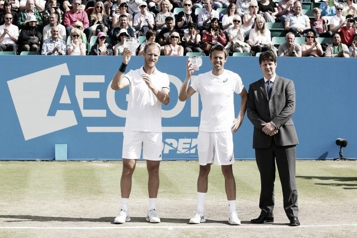 ATP Nottingham 2016: Dom Inglot/Daniel Nestor capture first title together - via Vavel - (Canada's Daniel Nestor and Dominic Inglot of Britain defeated Croatia's Ivan Dodig and Brazil's Marcelo Melo 7-5, 7-6 (4) to win the Aegon Open Nottingham men's doubles title Saturday. It was the 89th career doubles title for Nestor and his first of the season. He has won at least one Tour-level doubles title each year since 1994 - The Associated Press Published Saturday, Jun. 25, 2016)