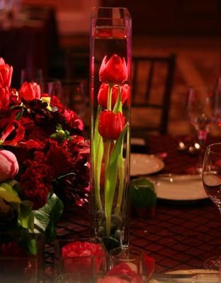tulip centerpieces for weddings | Red tulip centerpiece ideas for wedding