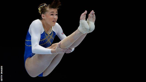 Team GB Olympian and British all-around champion Rebecca Tunney claims gold on the bars in Liverpool
