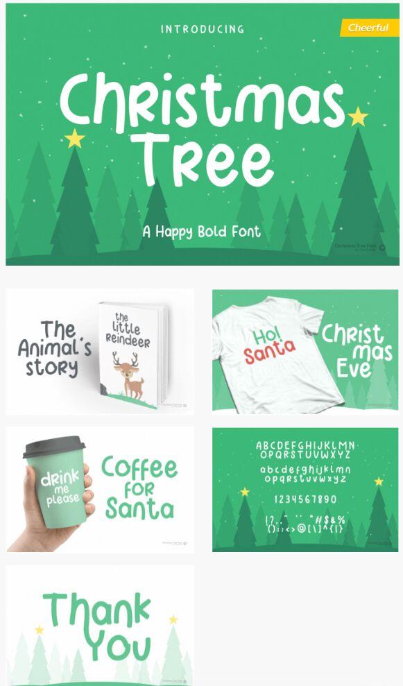 Christmas Tree Fun Holiday Font