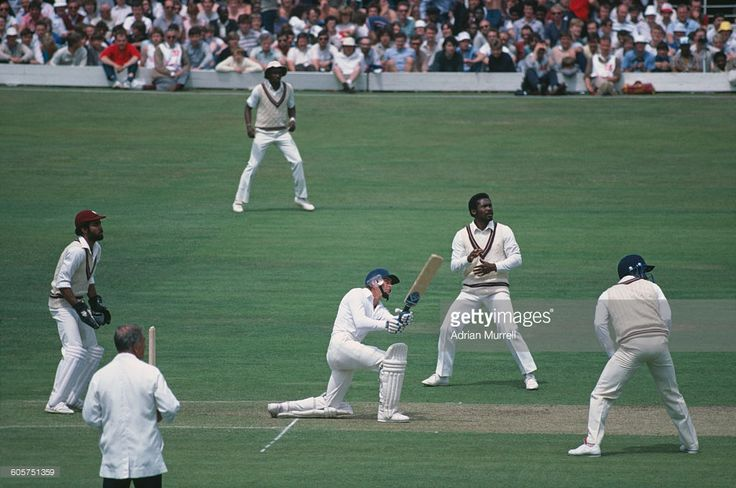 England cricketer Graeme Fowler (centre) opens the batting against the West Indies on the first day of the Wisden Trophy 2nd Test at Lord's, London, 28th June 1984. Fowler scored 106 runs in his first innings. The West Indies won the match by nine wickets.