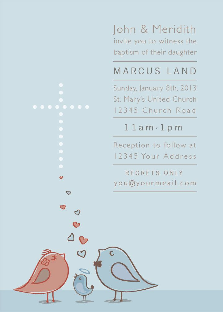 Baby Boy or Girl Baptism Invitation with Birds and Hearts. $14.00, via Etsy.