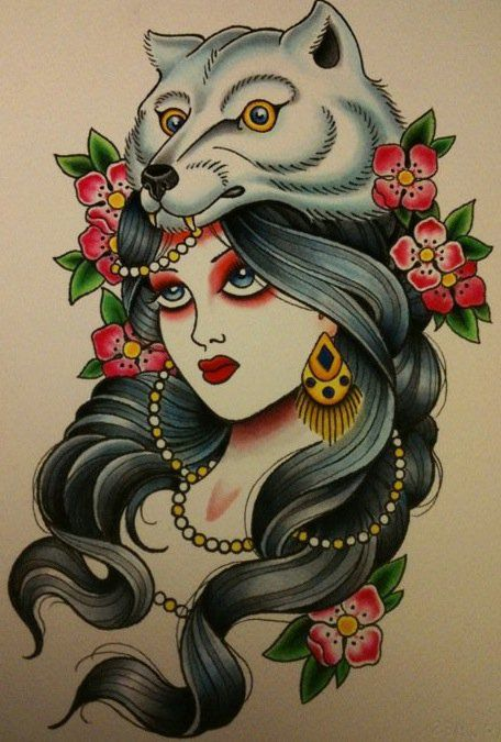 Restless Spirit : gypsy with a star gazing look upon her face. This look is believed to hold symbolic importance as the gypsy takes a look into the future. If you are looking toward the future or you feel that you posses a special ability, the gypsy tattoo may just be for you