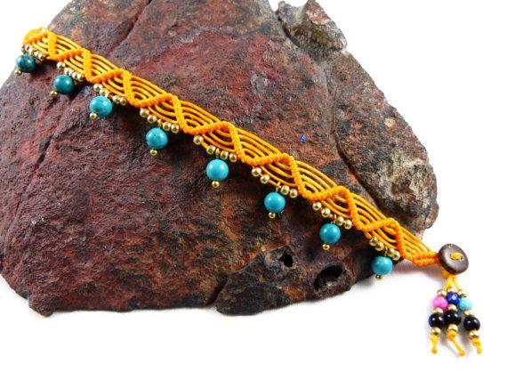 Thai Anklet Turquoise Sun Macrame Yellow Boho by ValaddaJewelry