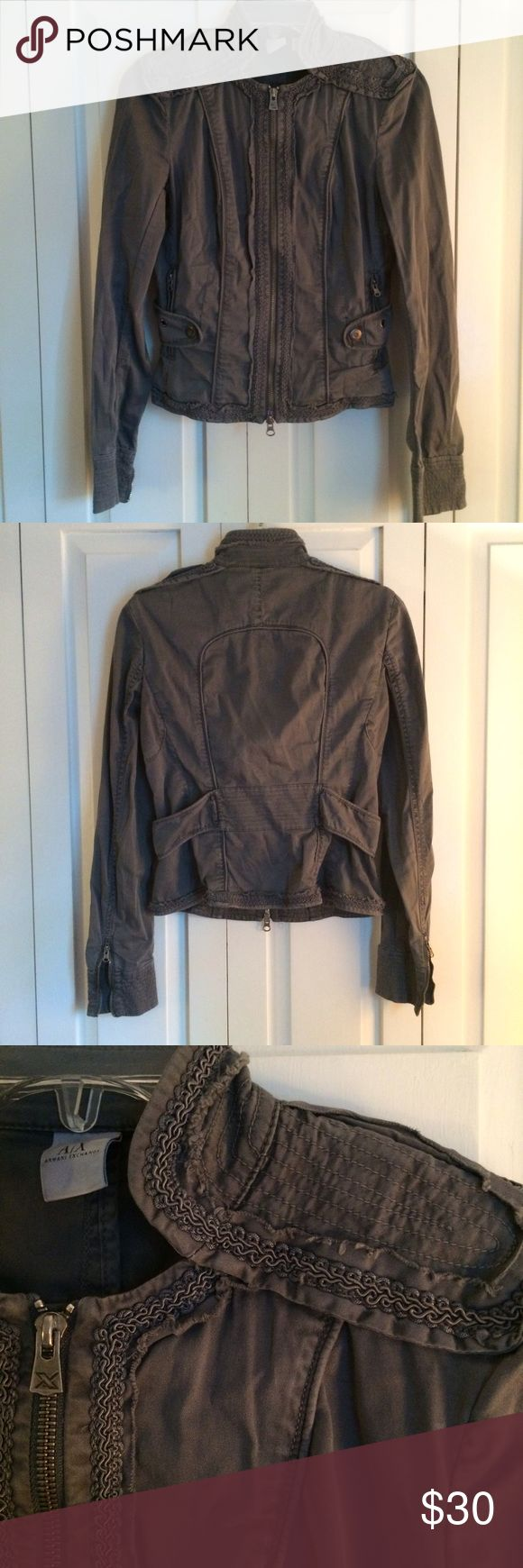 A|X Armani Exchange Military Jacket Great condition! Slate gray military-style jacket with feminine details. Does have some stretch! No trades please. Armani Exchange Jackets & Coats
