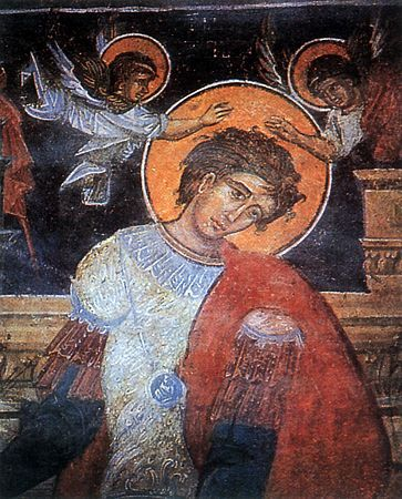 Martyr Luppos was the servant of holy GreatMartyr Demetrios of Soluneia (Thessalonika, Comm. 26 October). Present at his master's death, he soaked his own clothing in Demetrios' blood and took a ring from his hand. With these he performed many miracles and destroyed pagan idols, for which he was persecuted but by the power of God remained unharmed. Luppos surrendered himself to torturers and by order of emperor Maximian Galerius was beheaded by the sword (306 AD).