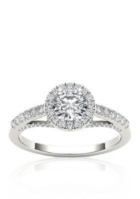 Belk Co 34 cttw Halo Diamond Engagement Ring in 14k White Gold