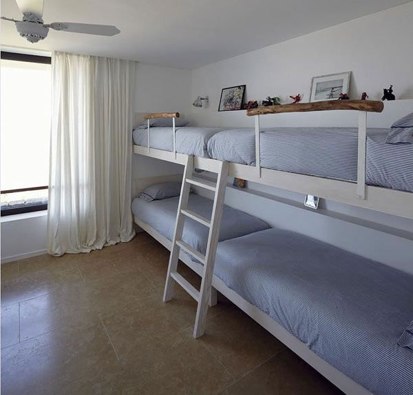 Uncomplicated full length of wall, children's double bunk bed to sleep four.