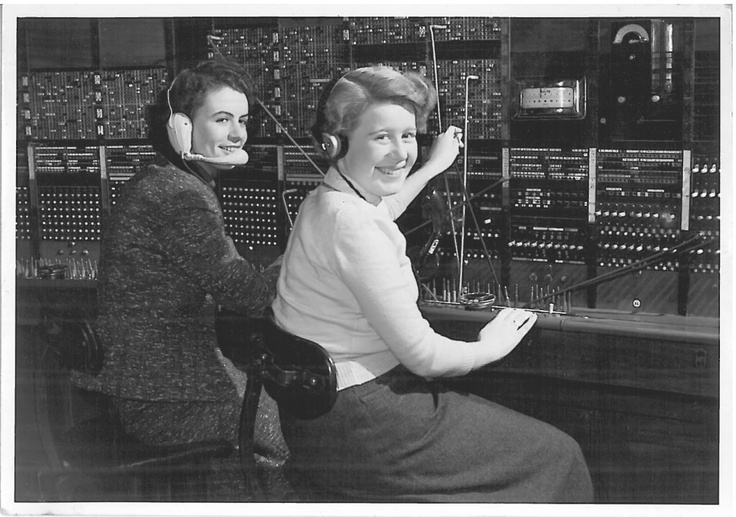My mother-in-law (left) at work as a telephonist in Tunbridge Wells in the early 50s.