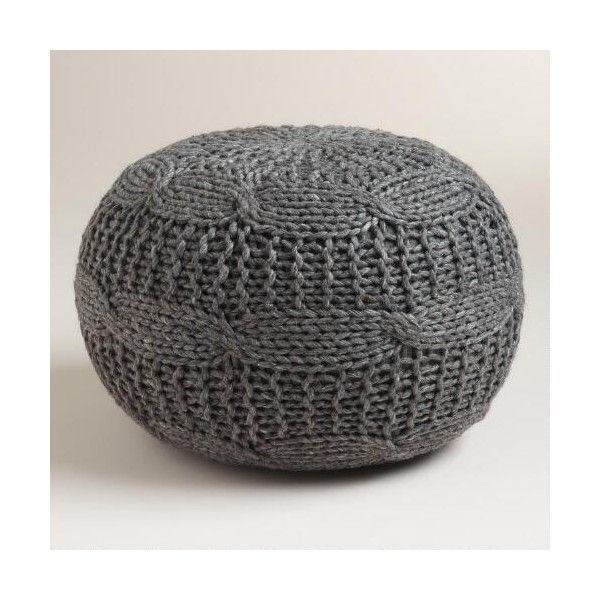 Cost Plus World Market Charcoal Heather Gray Sweater Pouf ($99) ❤ liked on Polyvore featuring home, furniture, ottomans, grey, gray furniture, grey furniture, dark grey furniture, charcoal furniture and charcoal gray furniture