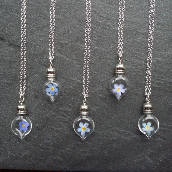 Forget-me-not Flower Glass Vial Pendant - Nature jewelry - Flower Necklaces - Dried Flowers
