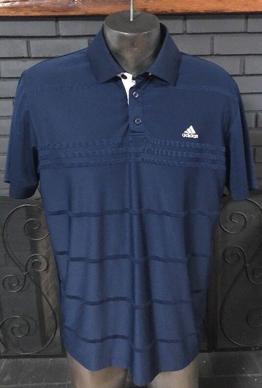 Adidas Climalite Golf Polo Tee Shirt Blue Striped  Men's Size Medium #adidas #PoloRugby