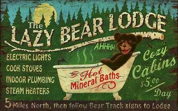 Lazy Bear Lodge Vintage Wooden Sign rustic-novelty-signs