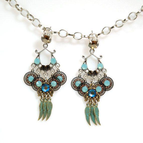 Turquoise oorbellen Swarovski lange oorbellen door CatenaSieraden