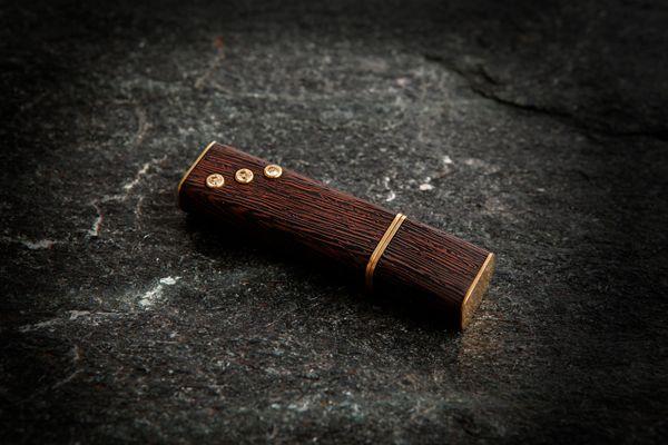 USB flash drive with Swarovski crystals .Wood -  wenge, metal-brass. 8 Gb