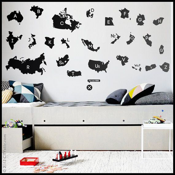 New GEOGRAPHY WALL DECAL : World Country Names alphabet with each first letters, Usa, Canada, Australia, Africa, Asia, France. Map sticker on Etsy, $80.40 CAD