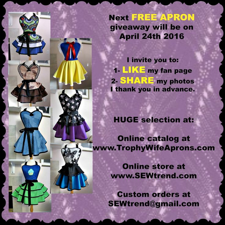 28th Lucky gal on April 24th 2016 was Fay Jones, from Clearwater, BC, Canada ☀ SAVE it to WIN it ☀  The lucky girl will get to select the Retro apron she wants.  Adult sizes starting @ $79.00 - KIDS sizes starting @ $49.00 Vintage inspired sexy aprons - flirty aprons - Custom made or readymade hostess aprons -Sizes T2 to adult 4XL #hostessaprons #retroaprons #sexyaprons☀ ☀ I regularly giveaway a FREE Funky Hostess Apron ☀ ☀  CLICK here for details…