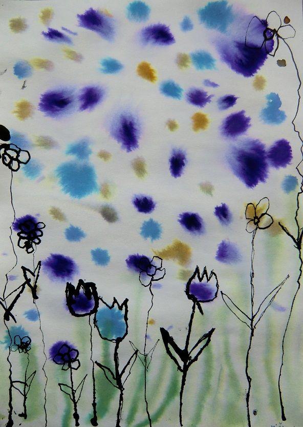 Květinová abstrakce (zapouštění do vlhkého podkladu, kresba tuší a dřívkem)