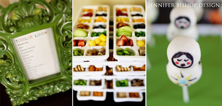 Toddler Menu-Ice Trays-Cake Pops TRAY CONTENTS: Edamame – Strawberries – Cucumbers – Pretzels – Corn – Raspberries – Annie's Cheddar Bunnies – Meatballs? – Organic Cheese Puffs – Peas – Blueberries – Cheese Cubes – Raisins – Vanilla Bear Cookies