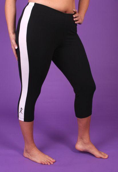 A big attitude side stripe plus size capri pant black and for White dress workout shirt