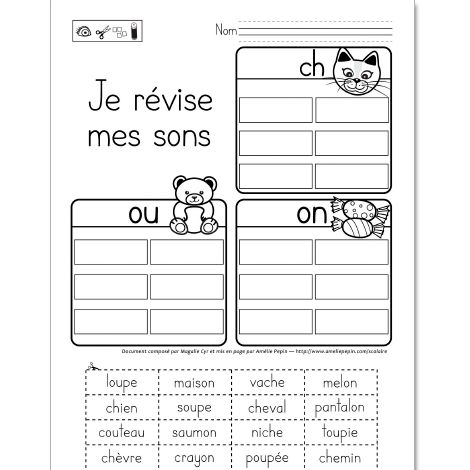 Je révise mes sons: ch, ou et on