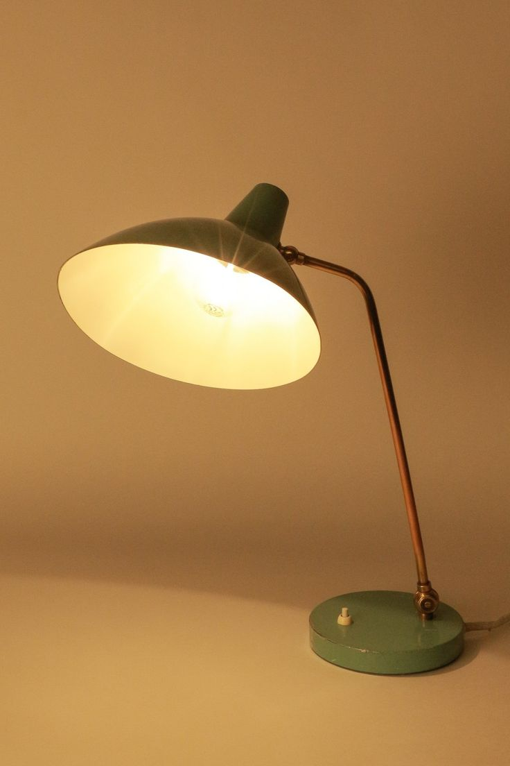 AMBA desk lamp from the 1950's in the very rare and original color mint green | Okay Art | DesignAddict
