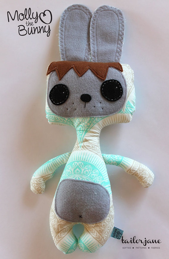 Molly the Bunny softie in snail scallop by tailorjane on Etsy, $30.00