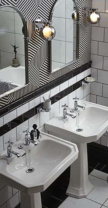 Twin Basins in this Art Deco style monochrome bathroom.