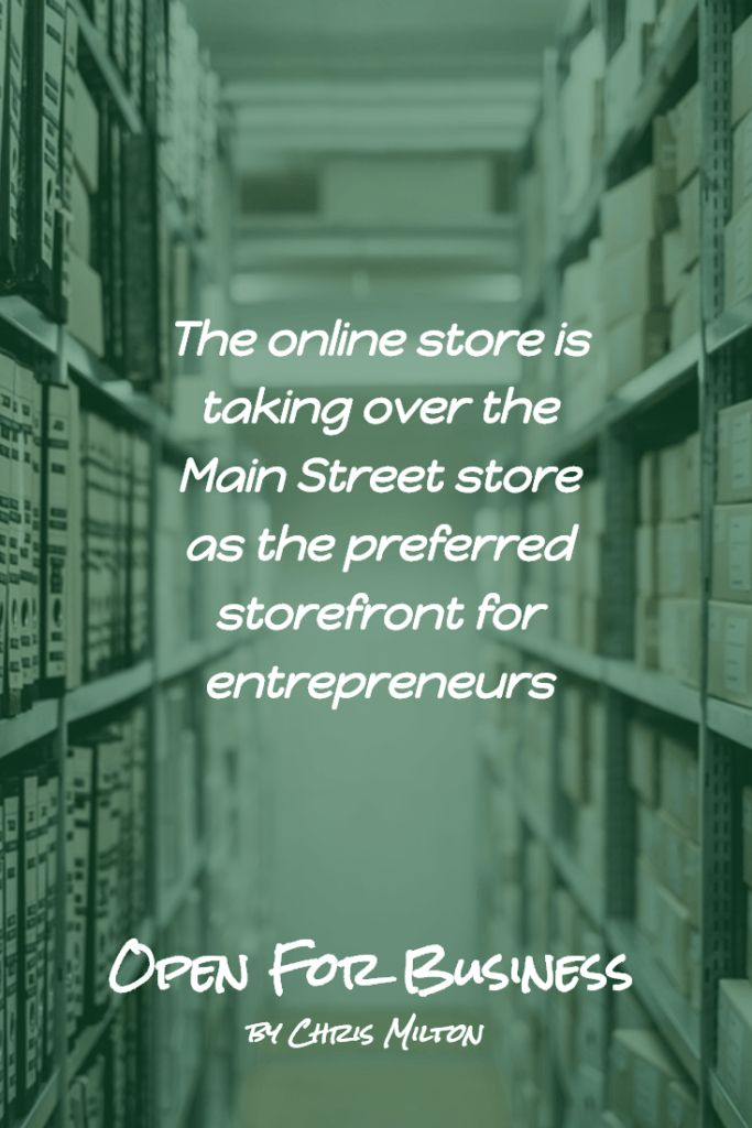 The online store is taking over the Main Street store as the preferred storefront for entrepreneurs - open for business on shopify - by chris milton