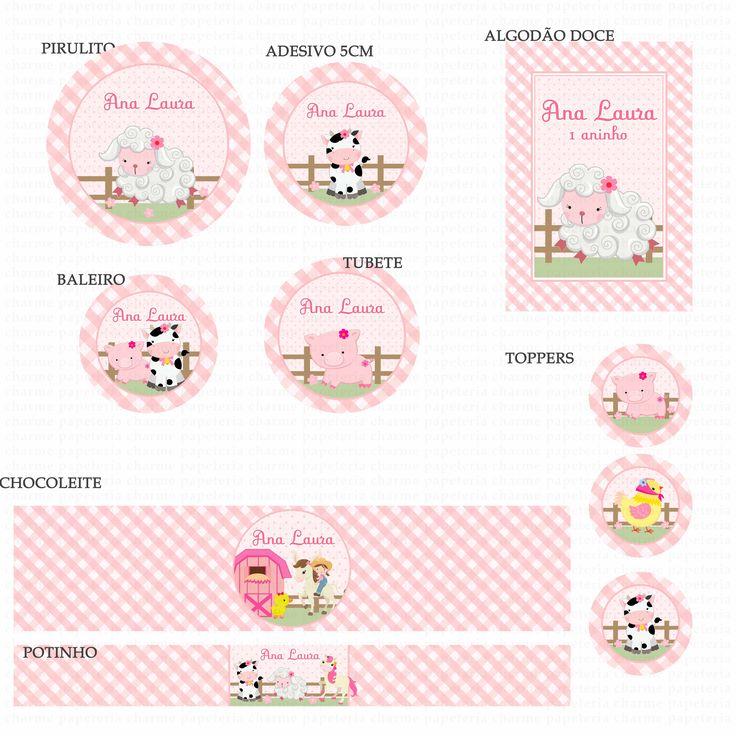 Kits Digitais Charme Papeteria - Fazendinha Rosa