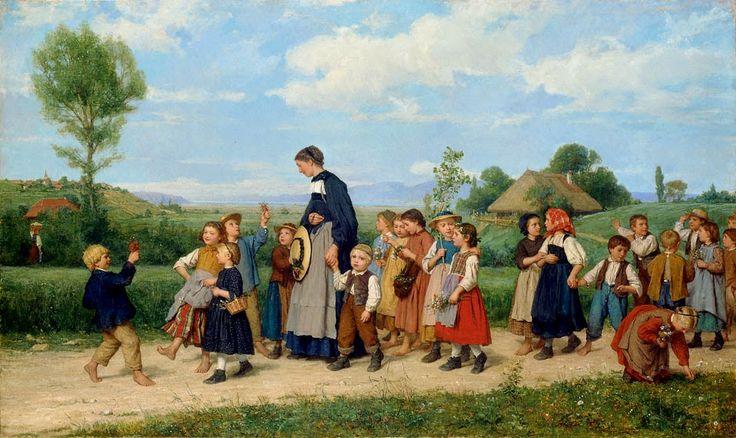 Albert Anker - School Walk (1885)