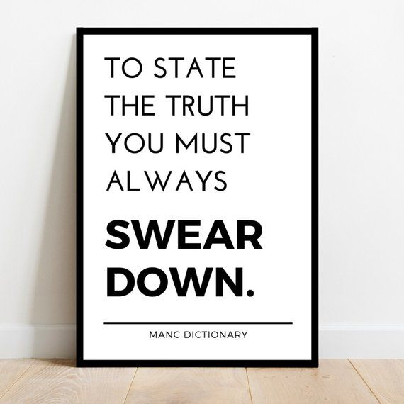 Minimalist Manchester Wall Art Quote Print Poster A4 A3 Funny