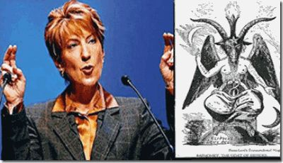 "Carly Fiorina, former Chairman and CEO of HP with the hand symbol of the Baphomet, the first woman to head a Dow 30 company and was named ""The Most Powerful Woman in Business"" by Fortune for six years in row seems to have joined Tony Blair's Faith Foundation as an evangelist of the ""Light""- LUCIFER."